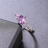 Cluster Rings ZHOUYANG Purple Crystal For Women Trend 2021 Zircon Silver Color Promise Ring Accessories Wedding Bidal Gifts Jewelry R492