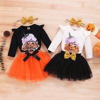 kids Clothing Sets Girls Halloween outfits infant pumpkin print Flying sleeve Tops+Mesh Net yarn skirts+Headband 3pcs set summer Spring Autumn baby clothes Z4328