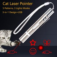 Cat Toys Pet Toy USB Rechargeable 3 In 1 Funny Chaser Stick Mini Red LED Laser Pointer Pen Supplies