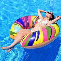 Inflatable Floats & Tubes Pool Float Boat Rainbow Swimming Adult Swim Air Mattresses Ring Summer Water Toy With Pump