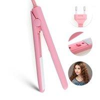 Hair Straighteners Mini Straightener Iron Pink Ceramic Straightening Corrugate Curling Styling Tools Curler With Free 1