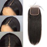 مستقيم إغلاق الشعر البشري بيرو الرباط closuree مع الطفل hairr 4x4 قبل الخليع عقدة ابيض اللون ريمي اللون الطبيعي