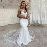 Lorie sexy sereia vestidos de casamento 2020 colher pescoo rendas apliques bridde aberto voltar pas nupcial