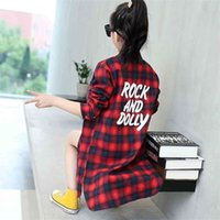 Fashion Autumn Long Section Blouse for Girls Green Yellow Red Plaid Cotton Shirts Casual Teenage School Tops and Blouses 210802