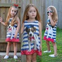 Designer Fashion children's clothing designer Europe Fashion Girls Cartoon Kids Stripe Cute Dog Printed Sleeveless Vest Dress Children Tank