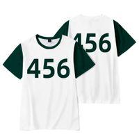 Squid Game Round Six Korean Movies 456 218 067 199 001 Print T-shirt Men Women Fashion Street Clothes Tshirt Streetwear Tops