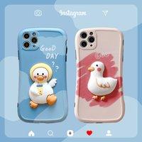 3D Cute Cartoon Little Duck Bear Cow Phone Cases for iPhone 12 11 Pro Max Mini XR XS X 8 7 Plus