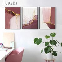 Paintings Abstract Golden Pink Canvas Painting Nordic Color Block Posters Print Modern Gold Pictures for Living Room Bedroom Wall Art Q56C