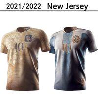 2021 2022 Argentina azul ouro 21 22 Conceito Jersey Jersey Maradona Distintivo especial Messi di Maria Higuain Icardi Dybala Camisa de futebol
