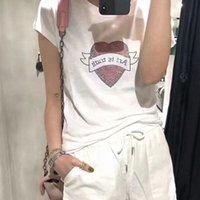 Women Tshirts Spring   Summer 2020 New Rhinestone Love Word Round Neck Short Sleeve z86M#