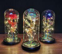 NewChristmas Favor Gold Foil Rose Flor Cubierta de cristal LED Lámpara Simulación Color Aurum Bloom 24k Día de San Valentín Decoración Adornos CCD
