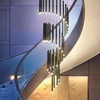 계단에 대 한 샹들리에 조명 거실 식사 산업 펜던트 램프 로프트 빌라 검은 긴 통 램프