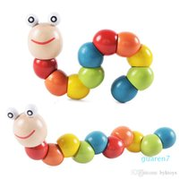 Kids Worm de madera rompecabezas colorido serpiente forma torcido insecto bebé aprendizaje temprano dedo juguete para niños Montessori regalo