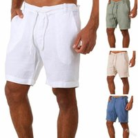 Pantaloncini da uomo Uomo Biancheria in cotone Casual Casual Scawstring Beach Breck Pant per maschio 2021 Summer Fashion Streetwear
