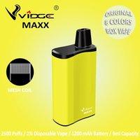 Authentic Ecig 2500puffs Vidge Maxx 2% Salt Disposable E Cigarettes Box Vape Mesh Coil Design 1200mAh Battery 9.0ml Capacity 8 Colors for Option