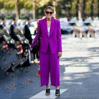 Женские женские костюмы 2 шт. Фиолетовый смокинг Мать невесты Формальная вечернее свадьба Blazer Custom Made Coatly женщин две штаны