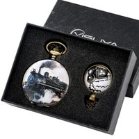 Pocket Watches Exquisite Quartz Watch Pendant Necklace Chain With Gift Box Train Design Case For Friend Family