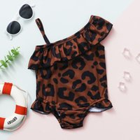 One-Pieces TELOTUNY Swimwear Toddler Baby Girls Off Shoulder Leopard Printed Ruffles Bikini One Piece Swimsuit Summer Beach Bathing Suit