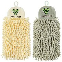 Towel 2Pcs Kitchen Hanging Towels Set Chenille Hand Face Wipe Bathroom Washcloths,Hangable Absorbent