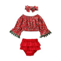 Kids Clothing Sets Girls Outfits Baby Clothes Suits Children Wear Summer Cotton Tops Blouses Bloomers Ruffle Shorts Headbands 3Pcs B5409