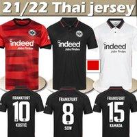 21/22 Eintracht Frankfurt Futbol Forması Jovic Rode Silva Kamada Hinteegger 2021 2022 Erkekler Kids Kiti Futbol Formaları Trikot des Fußballs