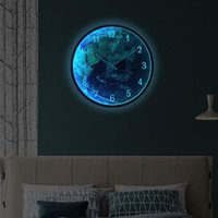 Wall Clocks LED Sound And Light Dual Control Luminous Clock Earth Lights Home Living Room Decorative Hanging Watch