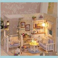 Venta al por mayor-Muñeca Casa DIY Puzzle de madera Miniatura 3D Miniaturas Miniaturas Muebles Muñeca para regalo de cumpleaños Juguetes de regalo H13 Regalos Hacer DF2AR