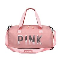 Storage Bags Sequins Pink Gym Bag Women Shoe Compartment Waterproof Sport For Fitness Training Yoga Travel
