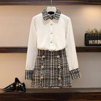 Два куска платье высокого качества элегантные женщины 2 набор Tweed Tastasels шифоновая рубашка сверху + двубортный шерстяной карандаш мини юбка костюма