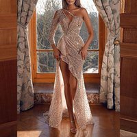 Luxury Sequined Prom Dresses Illusion Long Sleeves One Shoulder Evening Dress Women Party Robes De Beading Vestidos