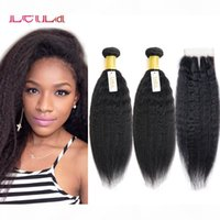 Cheap Kinky Straight Virgin Hair 2 Bundles With Lace Closure Free Middle Three Part 3 Pieces lot Unprocessed Human Hair Coarse Yaki