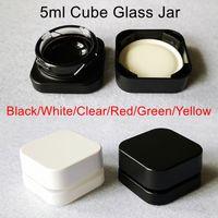 Premium Cube Glass Jar 5ml mit kinderresistentem Deckel Quadrat Flasche Konzentrat Gläser Wachsölkasten DAB Container 6 Farben