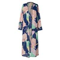 Women's Trench Coats Women Long Sleeve Printed Shawl Beachwear Chiffon Cardigan Tops Cover Up Blouse Corta Viento Mujer Plus Size Dropship L