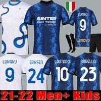 Inter Soccer Jersey Lukaku ميلان باريلا Lautaro Eriksen Alexis 21 22 قميص كرة القدم 2021 2022 زي الرجال + أطفال كيت 4th الرابع Kolarov d'Ambrosio Skriniar Brozovic