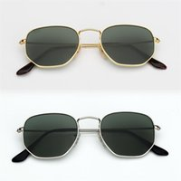 النظارات الشمسية النسائية النظارات الشمسية 3548 سداسية نظارات شمس معدنية مسطحة عدسات زجاجية 11 ألوان مع صندوق وحزم كل شيء RB3548