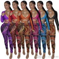 Sexy Women Tracksuits Two Pieces Outfits Designer Slim Nightclub Pattern Printed V Neck Bandage Long Sleeve Leggings Ladies Sportwear