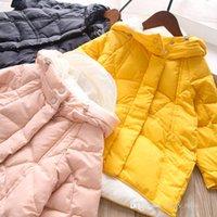 Winterkinder Mit Kapuze Mantel 2021 Mädchen Süßigkeiten Farben Mittlere Länge Hoodies Jacke Mode Kinder Casual Langarm Outwear S1696