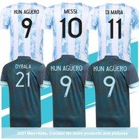 2021 Argentinien Messi Fussball Jersey di Maria Higuain Icardi Dybala Football Hemd Aguero Lauteraro MAILLOT Männer + Kinder Kits Home Away Größe S-3XL
