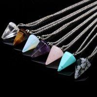 11 styles Party Favor Natural Gemstone Pendant Necklace Crystal Healing Chakra Reiki Silver Stone Hexagonal Prisme Cone Pendulum Charm Necklaces ZWL366