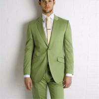 Men's Suits & Blazers Groomsmen Notch Lapel Costume Homme Groom Men Tuxedos Suit Olive Green Wedding Man (Jacket+Pants+Tie)