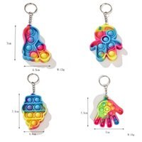 Camouflage Sensory Bubbles Decompression Toy Keychain Finger Popping Simple Dimples Fidget Push Games Stress Autism Relief Pendant 2798 Y2