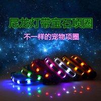 Pet Dog Cat Products Nylone LED Stripe 2.5 cm Iluminate Collar Collars Smycz