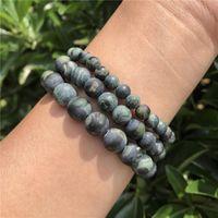 Natural Matte Green Kambaba Jasper Stone Bracelet Round Beads Crystal Quartz Healing Women Men Jewelry Gift Beaded, Strands