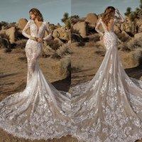 2022 Wedding Dresses Mermaid Bridal Gowns V Neck Long Sleeves Lace Appliques Custom Made Sexy Backless Sweep Train Vestido De Novia