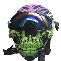 Hookah Silicone Gas Mask Bong smoking Creative Skull Pattern Acrylic Water Pipe with Sun Glasses Dry herb Oil Burner Multifunction Hookahs S