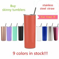 20oz Stainless Steel Skinny Tumbler With Steel Straw 20oz Skinny Cup Drinkintg Tumblers Vacuum Insulated Water Cup Free Straw