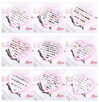 E2238 Korean version simple fashion 36 pairs of peach heart box oil dripping plastic anti allergy earrings