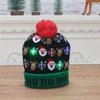 16 Stil LED Noel Cadılar Bayramı Örme Şapka Çocuklar Bebek Anneler Kış Sıcak Beanies Balkabağı Kardan Adam Tığ Caps Deniz Owe9745