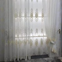 Curtain & Drapes French Luxury Lace Pearl Embroidered Voile Window Screen Tulle For Living Room Sheer Fabric Custom Made JK055D