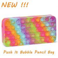 DHL Silicone Rainbow Push Bubble Pencil Bag Case Fidget Toys Simple Dimple Bubble Finger Toys Decompression Relief Interactive School